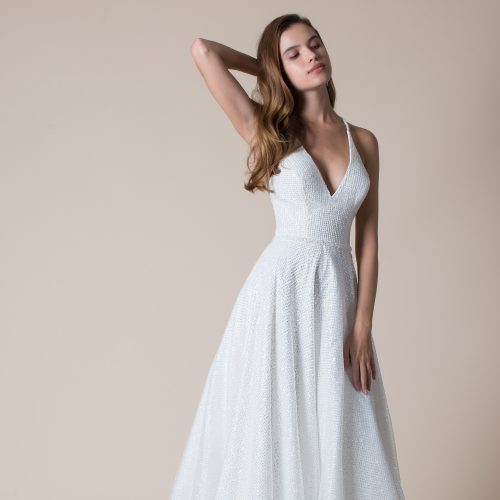 all over beaded organza wedding dress
