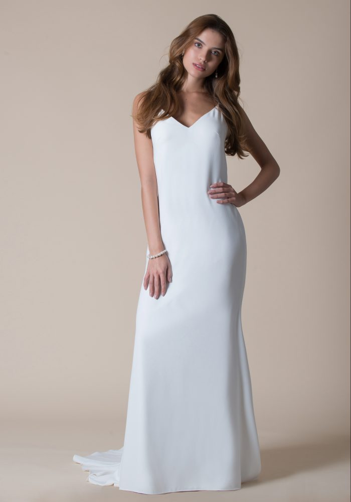 simple classic crepe wedding dress