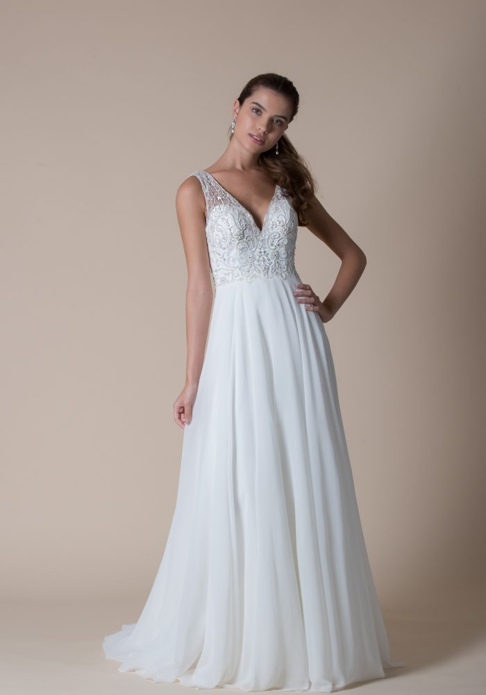 wedding dress with beaded bodice and aline organza skirt