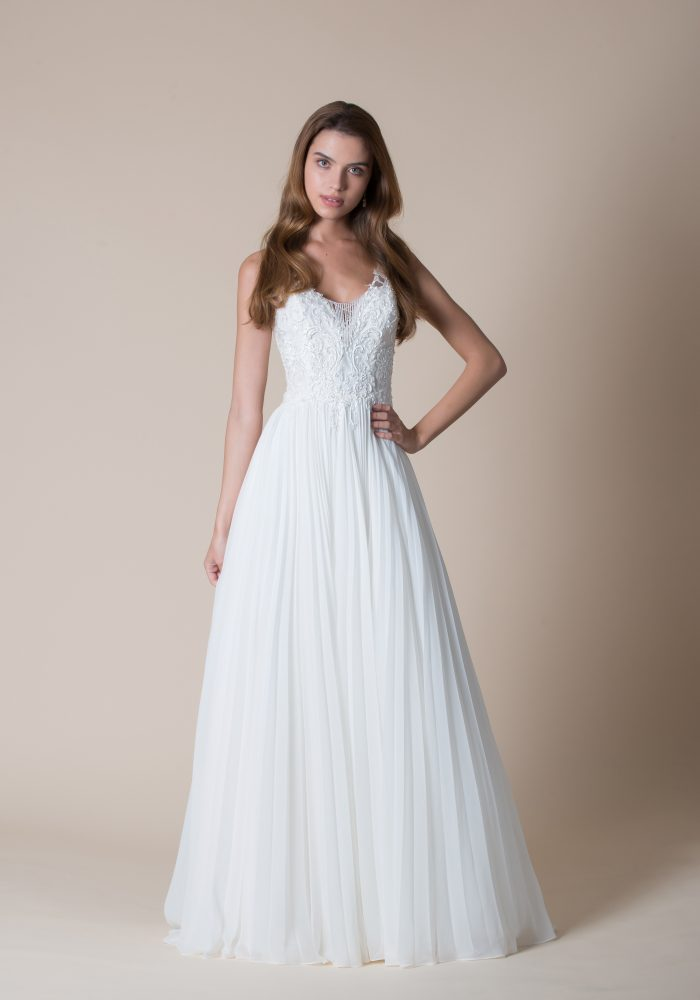 beaded wedding dress with pleated organza skirt