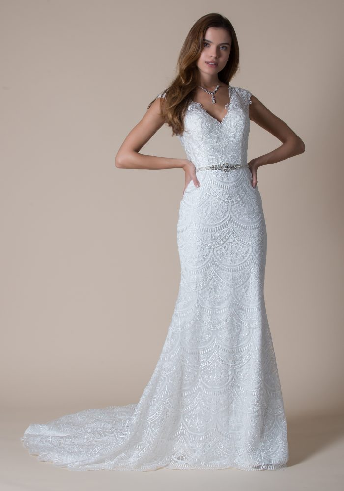 scalloped straight fitted lace wedding dress